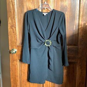 Topshop Black Mock Wrap Dress w/ tortoise Clasp 6